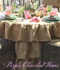 Peter Cottontail Tablescape -  Look for her sew great tutorials on the Ruffled Round Burlap Tablecloth, Bunny Tail Chair Sashes, and Bunny Ears Napkin Rings.