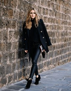 Olivia Palermo wears head to toe black; she adds texture to her outfit by wearing fringed boots and leather-look trousers. Her blazer adds sophistication and some structure. If you want to add some colour then wear a grey or beige jumper. Jumper: Chloe, Blazer: Reiss, Trousers: Paige, Boots: YSL, Bag: Meli Melo
