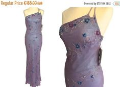 Scala Pure Silk Old Stock Glam Two Tone Purple Blue Embroidered Asymmetrical One Shoulder Formal Night Out Gala Ball Sequin Beaded Gown Dresses For Sale, Dress Sale, 30s Fashion, Fashion Women, Boho Festival, Festival Wedding, Beaded Gown, Pink Sequin, Pure Silk