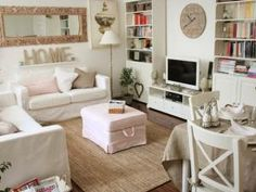 Distressed but Fairly White Shabby Stylish Dwelling Rooms - Room chic interior living room shabby chic shabby chic living room Shabby Chic Mode, Modern Shabby Chic, Shabby Chic Interiors, Shabby Chic Furniture, Shabby Chic Decor, Cottage Interiors, Teen Furniture, Space Furniture, Furniture Movers