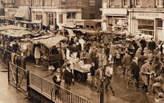 East Street Market, - just off the Walworth Road, commonly known as East Lane London Pictures, London Photos, Old Pictures, Old Photos, Vintage London, Old London, Elephant And Castle, London Market, East Street