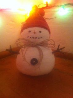 Cute hand made snowman made from old clothes