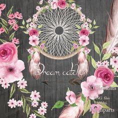 Dream catcher floral, Wreath feathers, Watercolor floral, bouquet, arrow, feathers, boho wedding invitation, flowers, bohemian clipart,