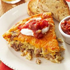 Packaged biscuit mix makes this egg and cheese dish come together quickly. Top it with salsa and sour cream to serve.