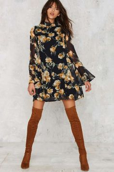 Marina Floral Bell Sleeve Dress - Clothes