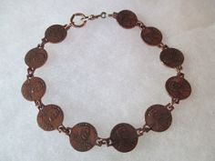 Vintage Miniature Charm Copper Penny Bracelet 1960s Pennies Adorable