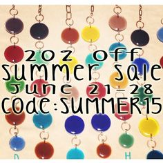 Summer Sale by EnamelArtByLeslie on Etsy! 20% off all purchases over $30. Unique one of a kind Handmade Art Pieces: Jewelry, Glass Art, Accessories, Garden Art, Garden Decor, Yard Decor, Sun Catchers, Beaded Jewelry, Glass Beads, Sterling Silver, Necklaces, Bracelets, Earrings, Hanging Art