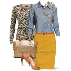 mustard pencil skirt, chambray button down shirt, leopard cardigan, dark nude pumps, gold tote/necklace
