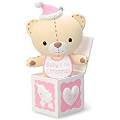 Hallmark 2016 Christmas Ornament Baby Girl's First Christmas Pink Teddy Bear in the Box Ornament