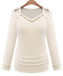 Stylish V Neck Long Sleeve Rhinestoned Cut Out Women's T-Shirt