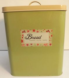 Vintage style Bread Bin Enamel look in sage and cream, Bread Baked With Love x