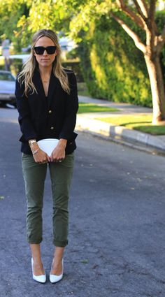White shoes, army green pants, black top