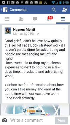 That's what I'm talking about!!  Woot woot! Congratulations Haynes! I love seeing my team members get results like this! Our Facebook strategy just plain works!!!  Go here http://6figure.profitwithsam.info