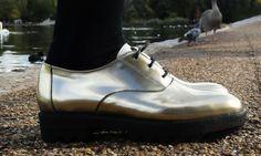 Mens mirror silver dress shoes.