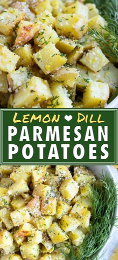Roasted Parmesan Yukon Gold Potatoes with Lemon & Dill are baked in the oven until perfectly crispy. This side dish will be a favorite because it's a quick and easy recipe that is gluten-free, Potato Sides, Potato Side Dishes, Side Dishes For Ribs, Side Dishes For Salmon, Steak Side Dishes, Simple Side Dishes, Vegan Side Dishes, Dinner Side Dishes, Vegetable Side Dishes