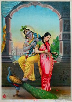 Radha Krishna Veni Bandhan Details about  Vintage Large Ravi Varma Lithograph Print   (via ebay: p_tapadia)
