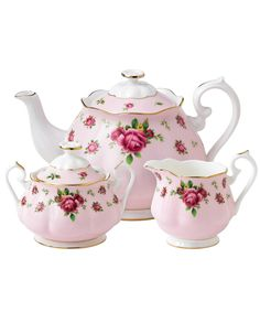 3 Piece Pink New Country Roses Vintage Tea Set, Royal Albert. Shop more from the Royal Albert collection at Liberty.co.uk