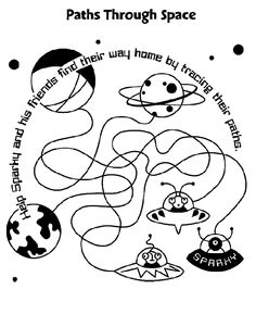 Paths Through Space coloring page Space Coloring Pages, Free Coloring Pages, Cosmos, Outer Space Theme, Vision Therapy, Space Party, Therapy Activities, Paths, Early Finishers