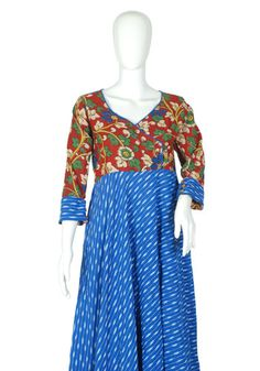 Blue Ikat and Kalamkari Angrakha Anarkali Design 2