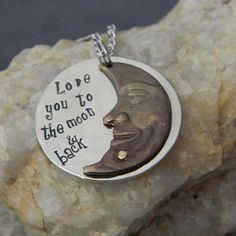 Love you to the moon & back Riveted Moon Necklace by WireNWhimsy