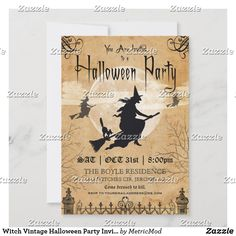 Halloween Images, Halloween Christmas, Halloween Themes, Vintage Halloween, Vintage Invitations, Birthday Invitations, Christmas Photo Cards, Holiday Cards, Halloween Costume Party Invitations