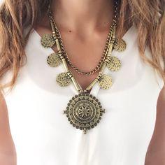 Frillu brass necklace