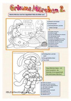 Märchen nennen und Bilder ausmalen. 4 Seiten - mit Lösung  - DaF Arbeitsblätter