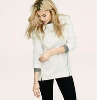 Lou & Grey Textured Zippy Tunic - Introducing a new line of easy, texture-rich pieces for your every day. A softly textured knit gets style-as-you-wish allure with extended zips. Boatneck. Long sleeves. Functional side zips. Banded neckline, cuffs and elliptical hem.