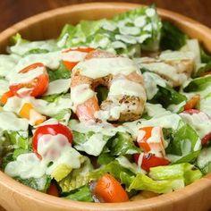 Shrimp Salad With Creamy Avocado Dressing Recipe by Tasty - Rezepte Shrimp Salad Recipes, Seafood Salad, Salad With Shrimp, Seafood Appetizers, Chicken Recipes, Roasted Veggie Salad, Chickpea Salad, Creamy Avocado Dressing, Fresh Avocado