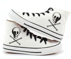 Skull shoes Custom  skull canvas Converse Converse Sneakers Hand-Painted On Converse Shoes