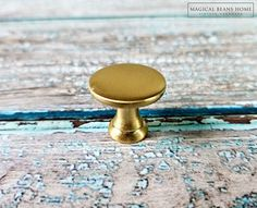 ⌘ This listing is for (1) One Knob ⌘ Measures Approx 1D ⌘ Screws SOLD SEPARATELY ⌘ Hardware has a 3-5 Day Processing Time  Decorative mushroom style, brushed gold Industrial furniture & cabinet knobs. New condition. These knobs are a nice weight, sleek lines, excellent craftsmanship!