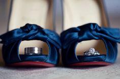wedding day photo idea - blue satin shoes - wedding rings