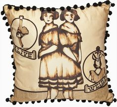 Goth Shopaholic: Sourpuss Pillows for Dark and Gothic Homes - Conjoined Twins pillow