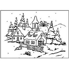Nellie's Choice Picture Embossing Folder 4.125 X6 - Peaceful Village 3