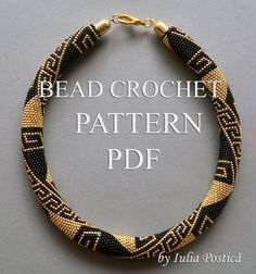 "Pattern for bead crochet necklace ""Greek Meanders"" / Gold and black, bead crochet pattern / Beaded necklace / Instructions only on Etsy, $9.00"