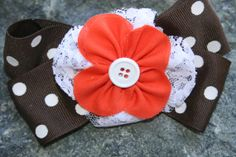 Handmade brown orange and white large by RockabillyBabyPlace, $3.50