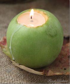 Velas aromatizadas - um PAP para transformar a maçã em suporte de vela e ainda aproveitar o aroma da maçã