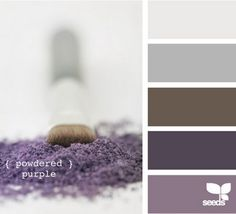 Purple and gray for Master bedroom!!! Both masc and fem. Love it! I would us brown for the furniture.