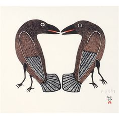 Kenojuak Ashevak Love Birds, Inuit prints from Cape Dorset at Home & Away Gallery Inuit Kunst, Arte Inuit, Inuit Art, Crow Art, Raven Art, Bird Art, Native Art, Native American Art, Native Indian