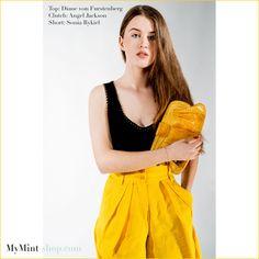 Gelb ist leicht zu kombinieren und die Strahle-Farbe des Sommers  Top: #dianevonfurstenberg Short: #soniarykiel  Clutch: #angeljackson MyMint Vintage & Secondhand Online Shop