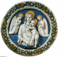 madonna et l'enfant au milieu de deux anges, terre cuite de Luca Della Robbia (1399-1483, Italy)