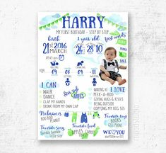 First Birthday Infographic Watercolor poster birthday poster