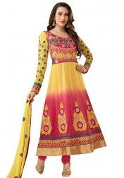 Karishma Kapoor Yellow and Pink Colour Georgette Anarkali Salwar Kameez http://www.vendorvilla.com/