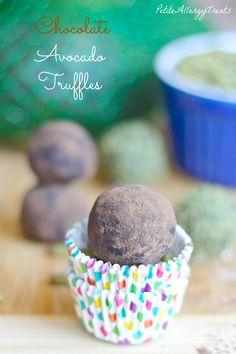 Chocolate Avocado Truffles|PetiteAllergyTreats Healthy Avocado meets chocolate #glutenfree, #paleo, #Vegan, #pumpkinseeds