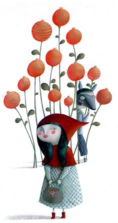 Little Red Riding Hood - Le petit Chaperon Rouge - Martina Peluso Little Red Ridding Hood, Red Riding Hood, Angst Im Dunkeln, Charles Perrault, Graffiti Artwork, Fairytale Art, Red Hood, Children's Book Illustration, Book Illustrations