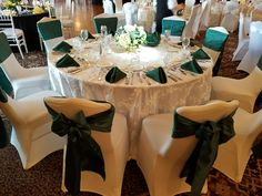 Ribbon taffeta tablecloth with emerald accents