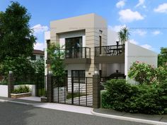 Two Storey House Plan with Balcony - Pinoy House Plans Zen House Design, Two Story House Design, Bungalow Haus Design, 2 Storey House Design, Small Bungalow, Home Design, Two Storey House Plans, Double Storey House, Narrow Lot House Plans