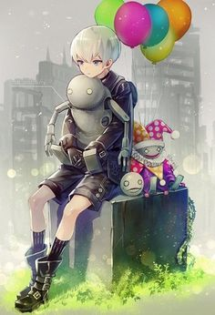 9S with a Stubby, a Jester Machine, and Emil : nier