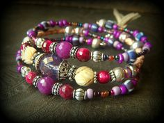 Gypsy, Boho, Lotus Flower, Jade, Ruby, Tiger Eye, Bolo Leather ,Tribal, African Bead, Memory Wire,Wrap, Charm Bracelet