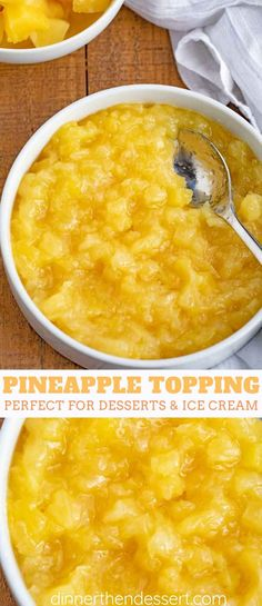 Pineapple Topping perfect for ice cream sundaes, cheesecakes and more made in just a few minutes with just three ingredients!Easy Pineapple Topping perfect for ice cream sundaes, cheesecakes and more made in just a few minutes with just three ingredients! Pineapple Desserts, Pineapple Recipes, Fruit Recipes, Cooking Recipes, Healthy Recipes, Pineapple Sauce, Pineapple Cheesecake, Pineapple Ice Cream Topping Recipe, Pineapple Filling For Cake